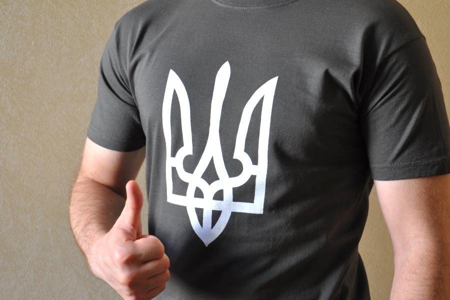 Темно-сіра (графітова) футболка з гербом України 84c02c8ef04c1